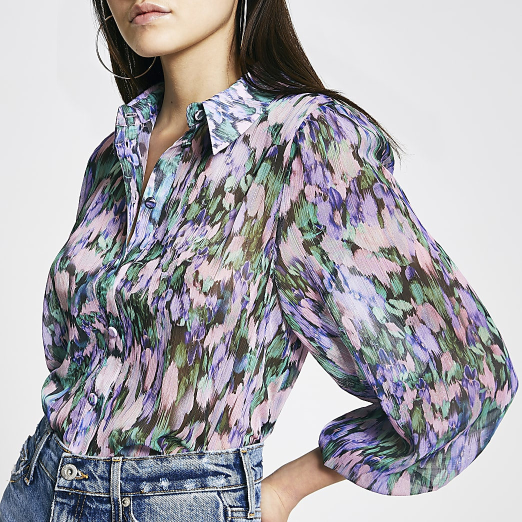 Purple floral print chiffon sheer shirt