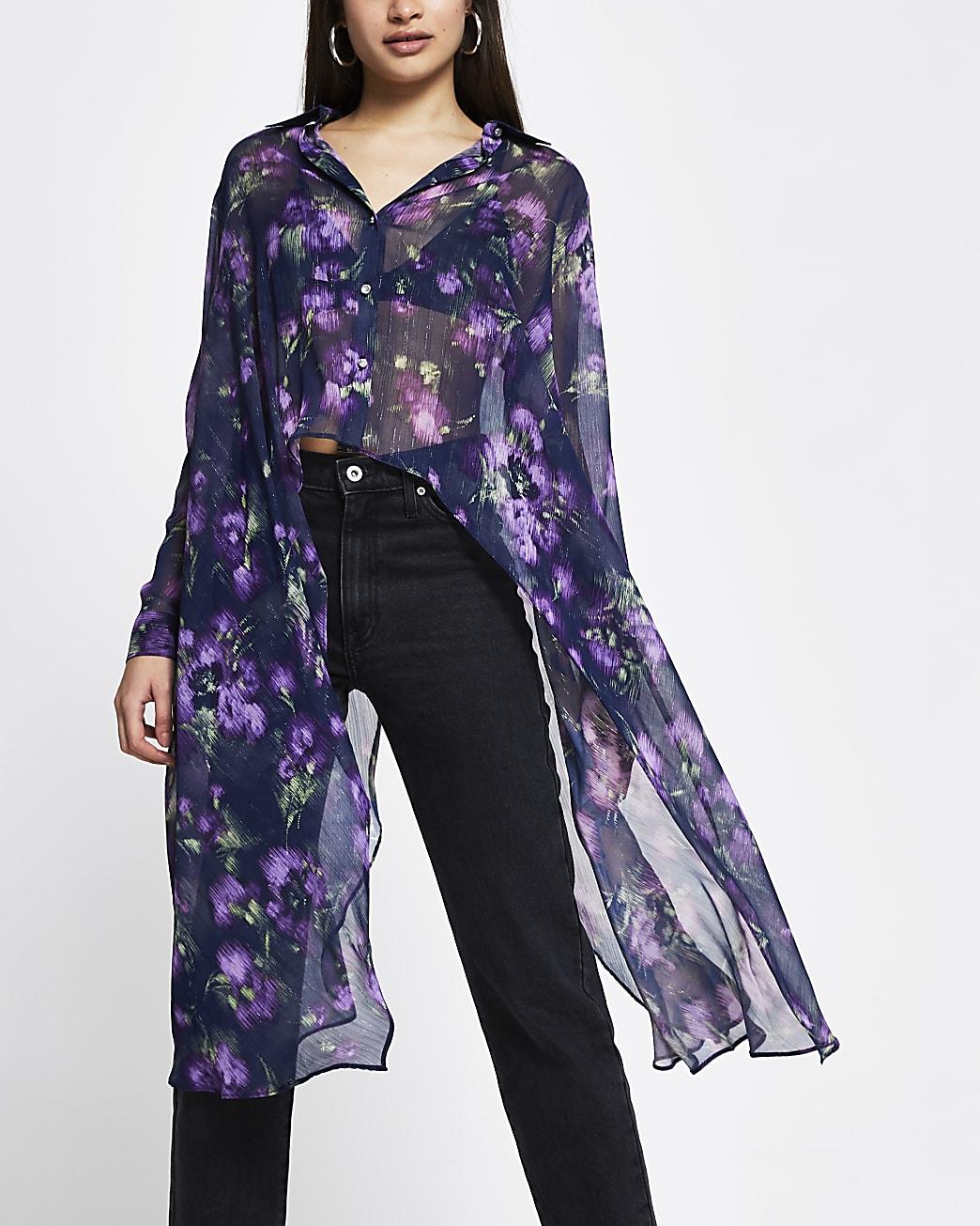 Purple floral print frill asymmetric shirt