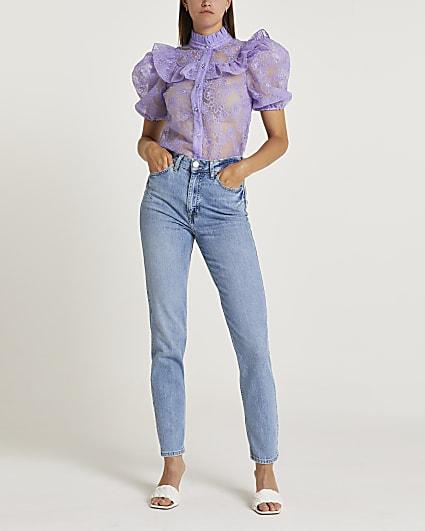 Purple floral print frill detail shirt