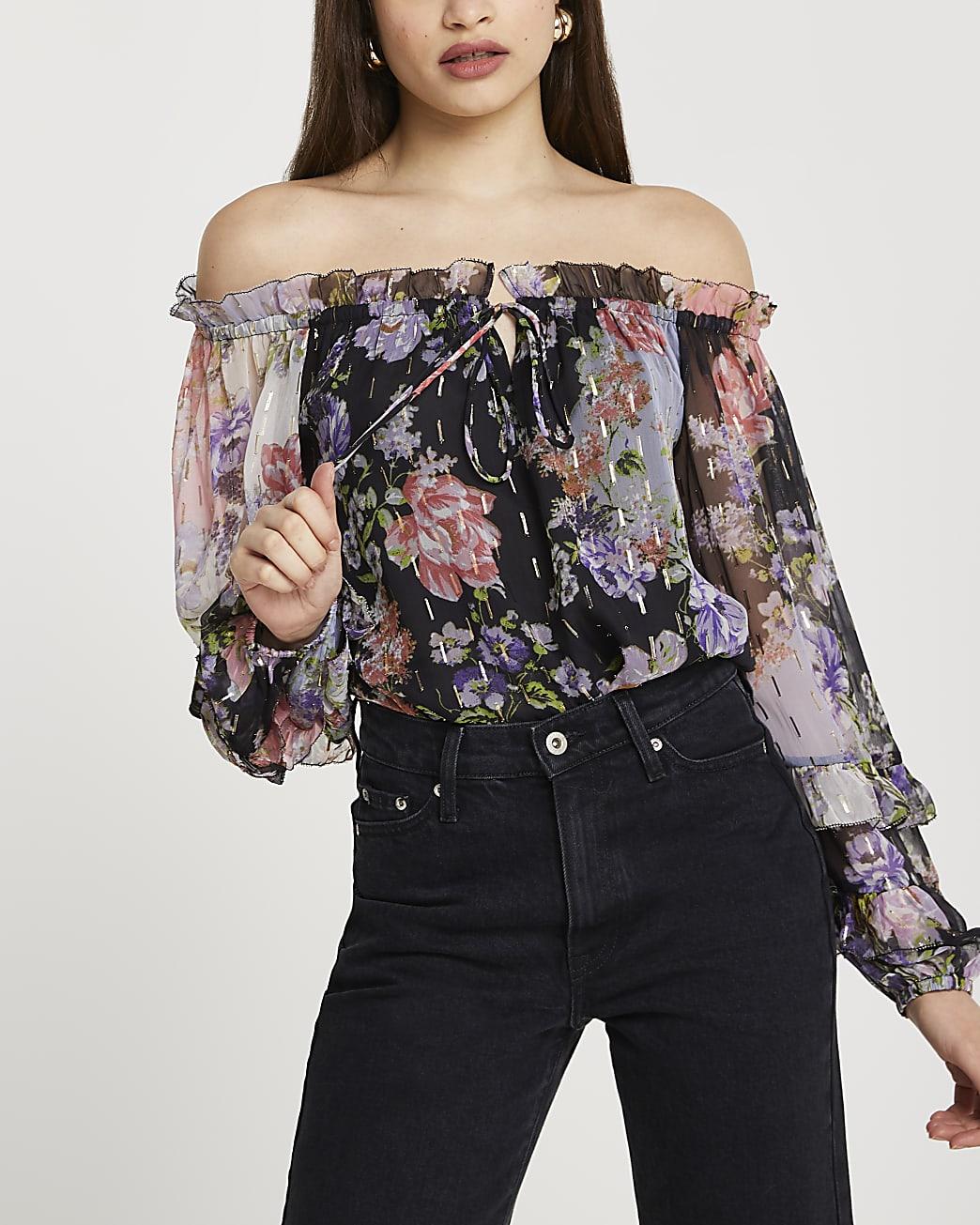 Purple floral print long sleeve bardot top