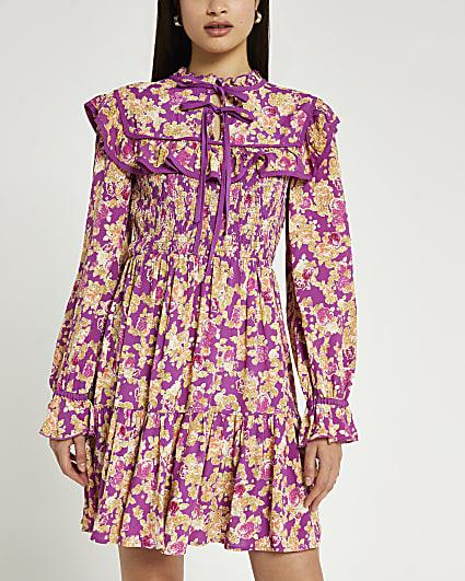 Purple floral print shirred mini dress