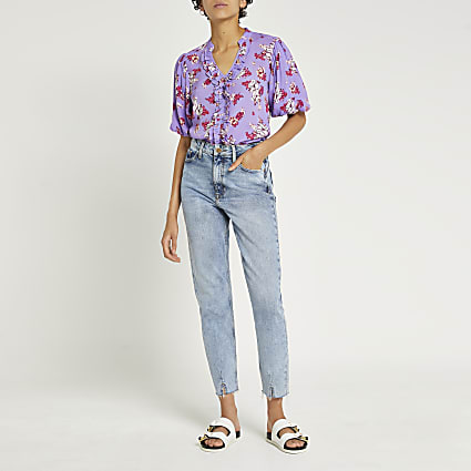 Purple floral puff sleeve blouse