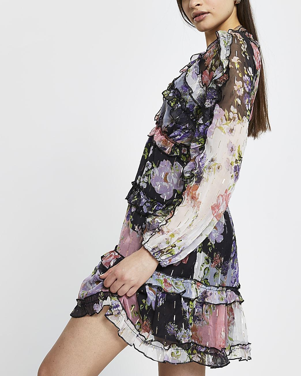 Purple floral ruffle smock mini dress