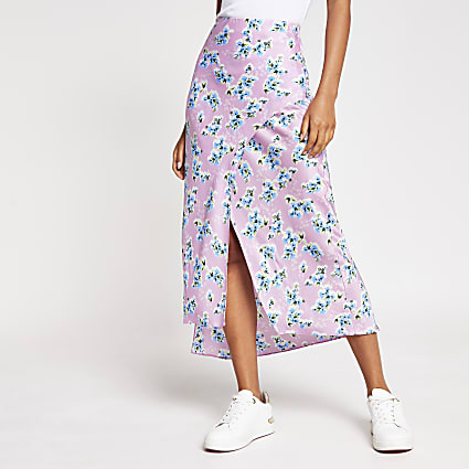 Purple floral satin midi skirt