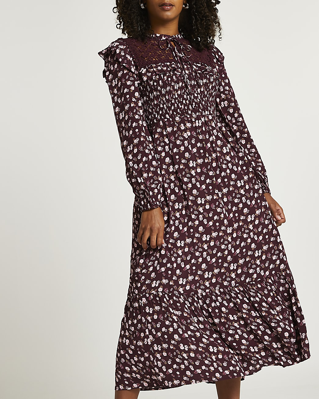 Purple floral shirred midi dress