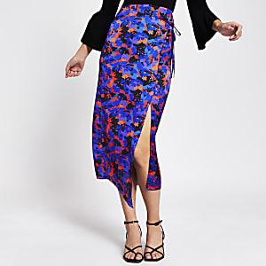 Paarse midi-rok met bloemenprint, overslag en strik