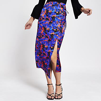 Purple floral wrap tie midi skirt