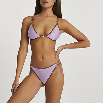 Purple foil triangle bikini