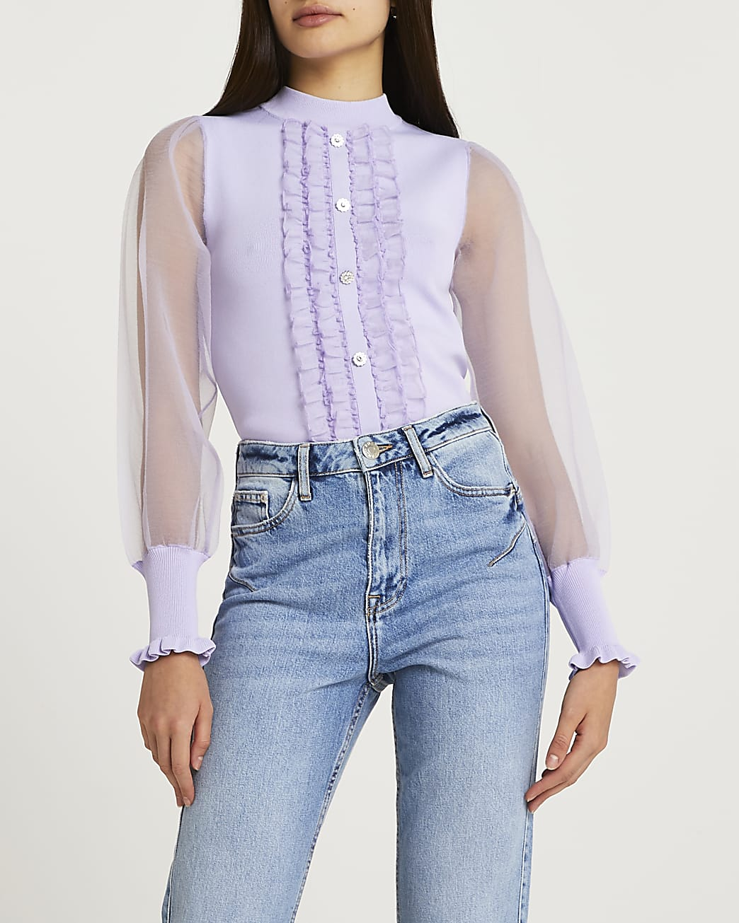 Purple frill detail puff sleeve top