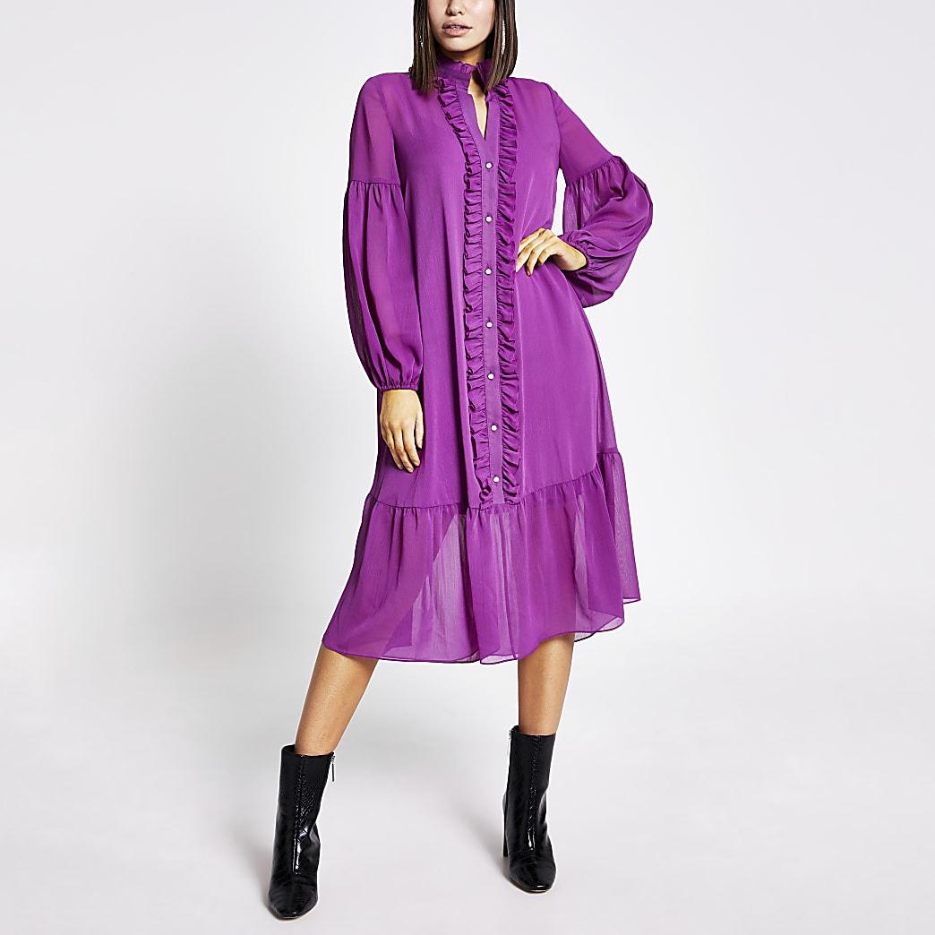 Robe mi-longue à smocks, volants et manches longues violette