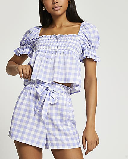 Purple gingham tie front shorts