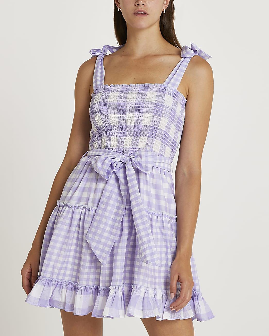 Purple gingham tie waist mini dress