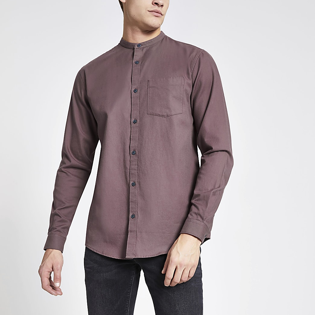 Purple grandad collar regular fit shirt
