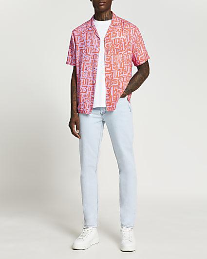 Purple graphic print short sleeve shirt