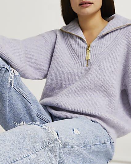 Purple half zip knitted jumper