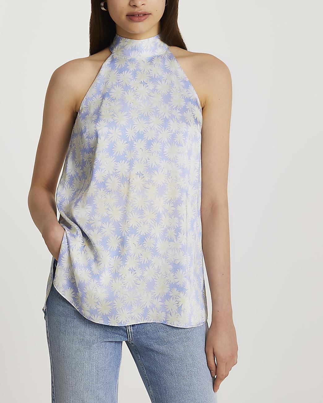 Purple halter neck floral top