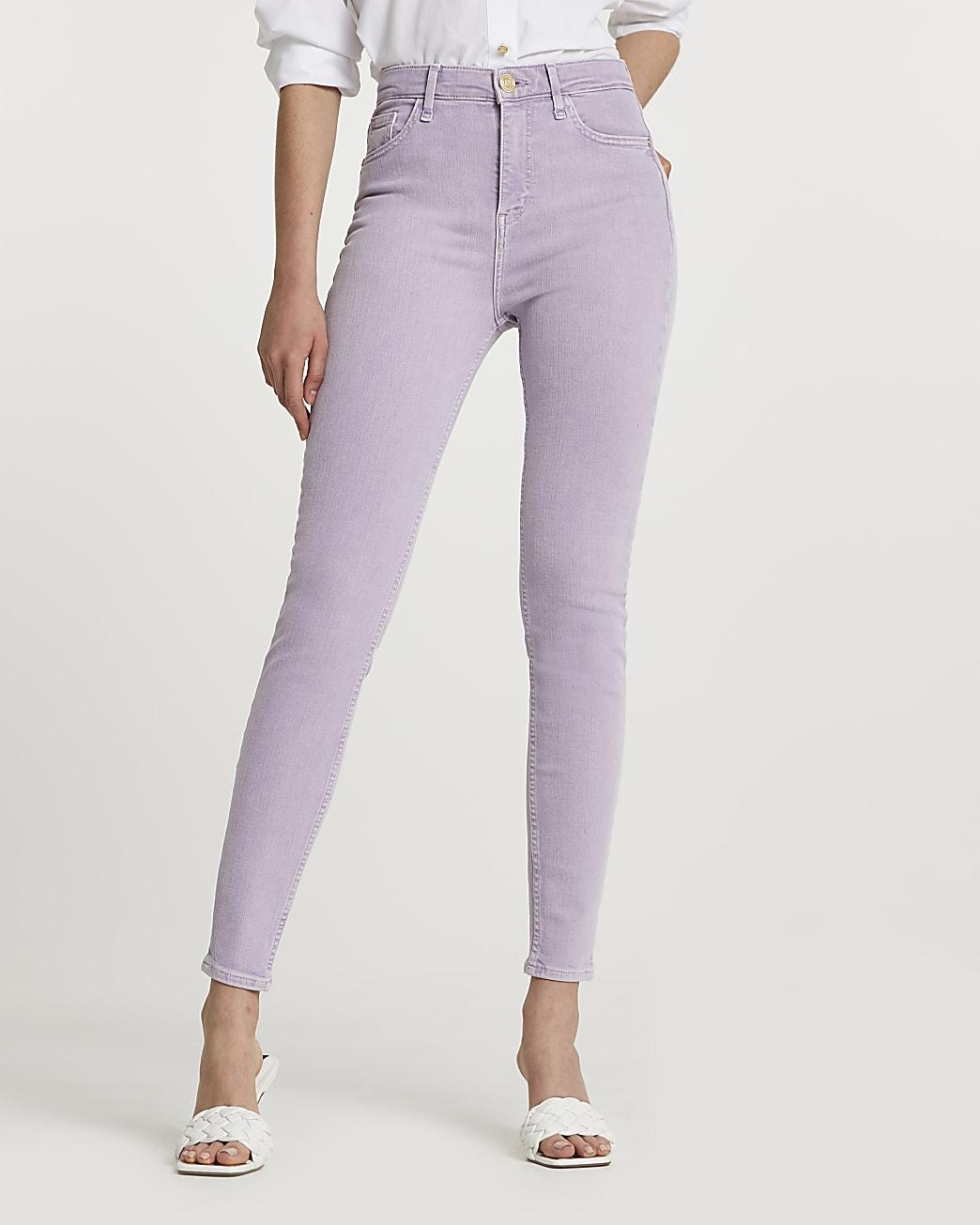 Purple high rise skinny jeans