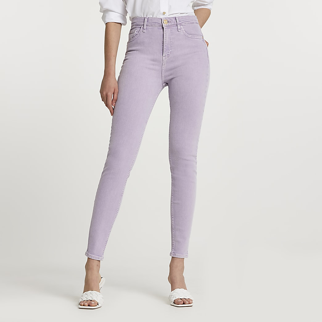 Purple high rise skinny jeans