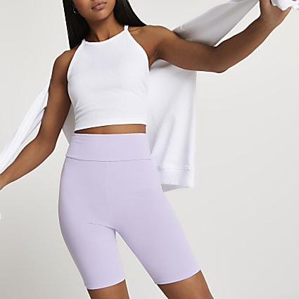 Purple high waisted cycling shorts