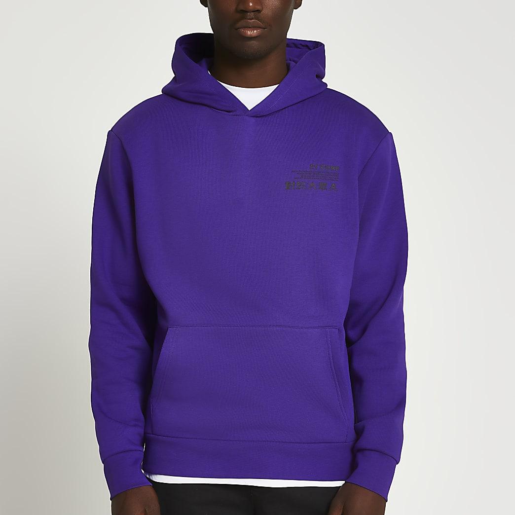 Purple Japanese back print slim fit hoodie