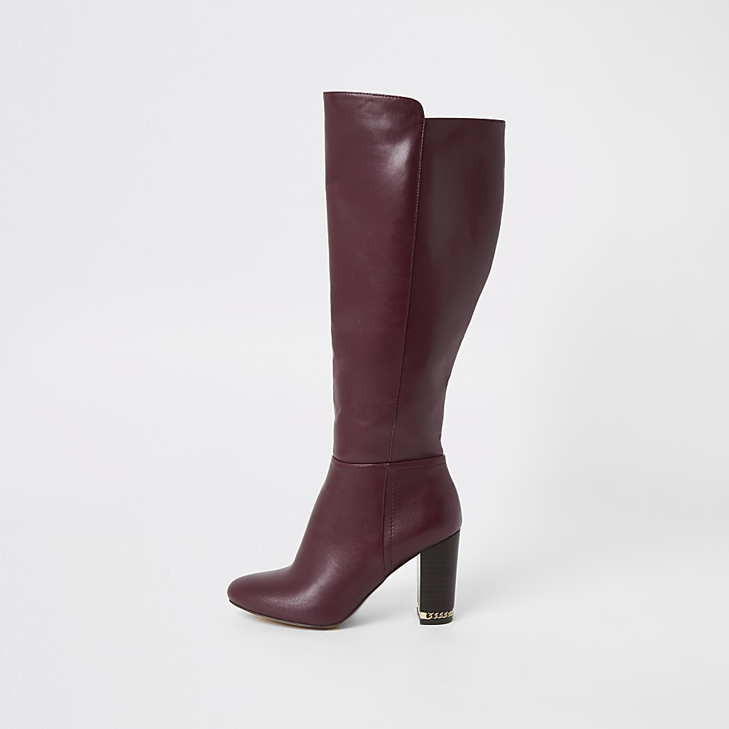 Purple knee high chain heeled boots