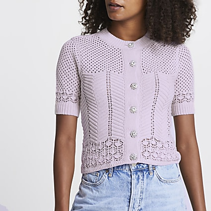 Purple knitted cardigan