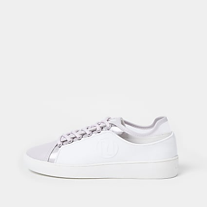 Purple lace up plimsole trainers