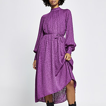 Purple leopard print tie waist midi dress