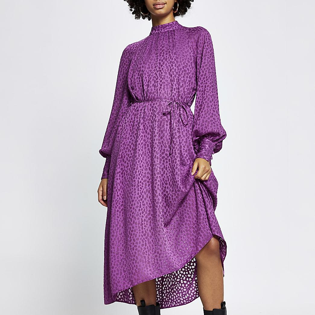Purple leopard print tie waist midi dress