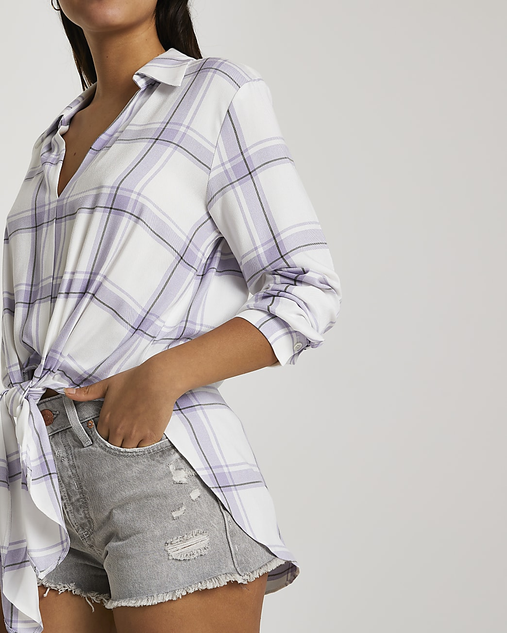 Purple long sleeve check shirt