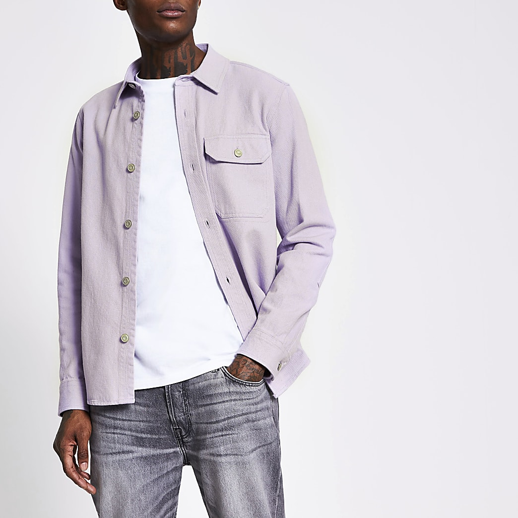 Purple long sleeve denim overshirt