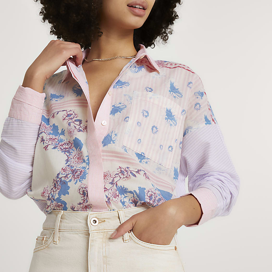 Purple long sleeve floral oversized shirt
