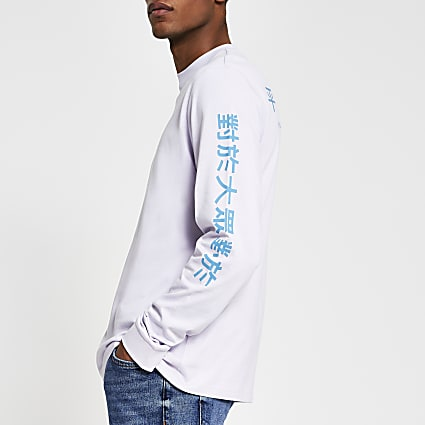 Purple long sleeve Japanese text t-shirt