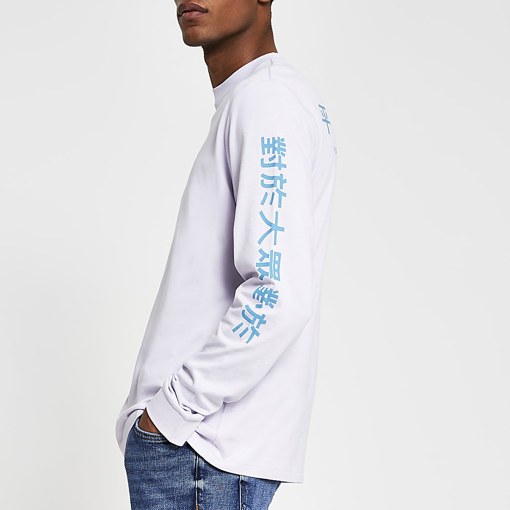 Purple long sleeve Japanese text t-shirt