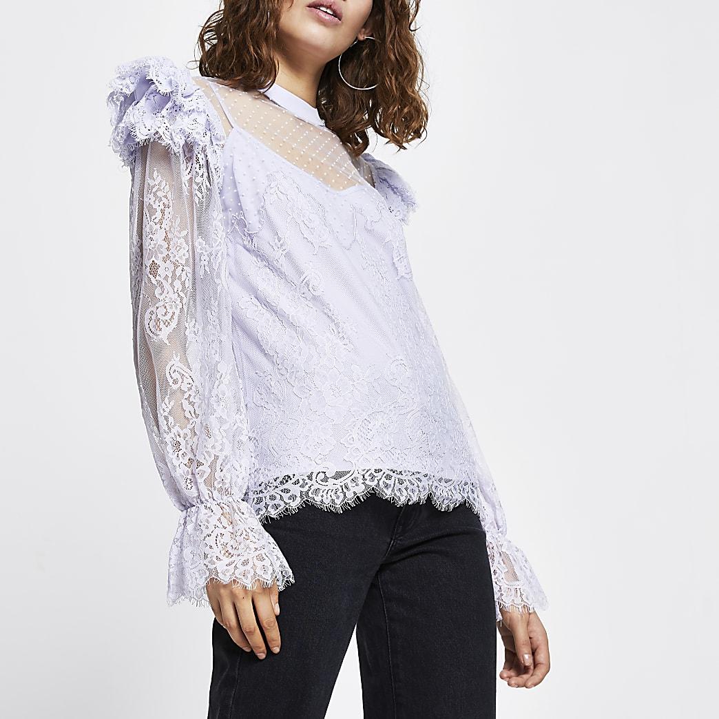 Purple long sleeve lace blouse top