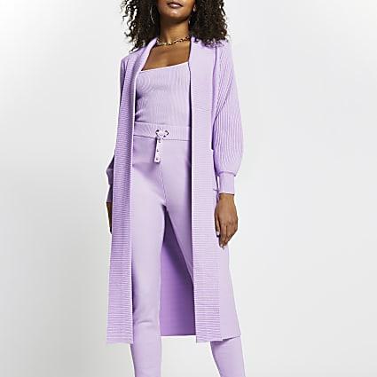 Purple long sleeve maxi cardigan
