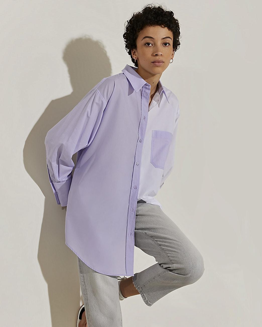 Purple long sleeve mixed stripe shirt