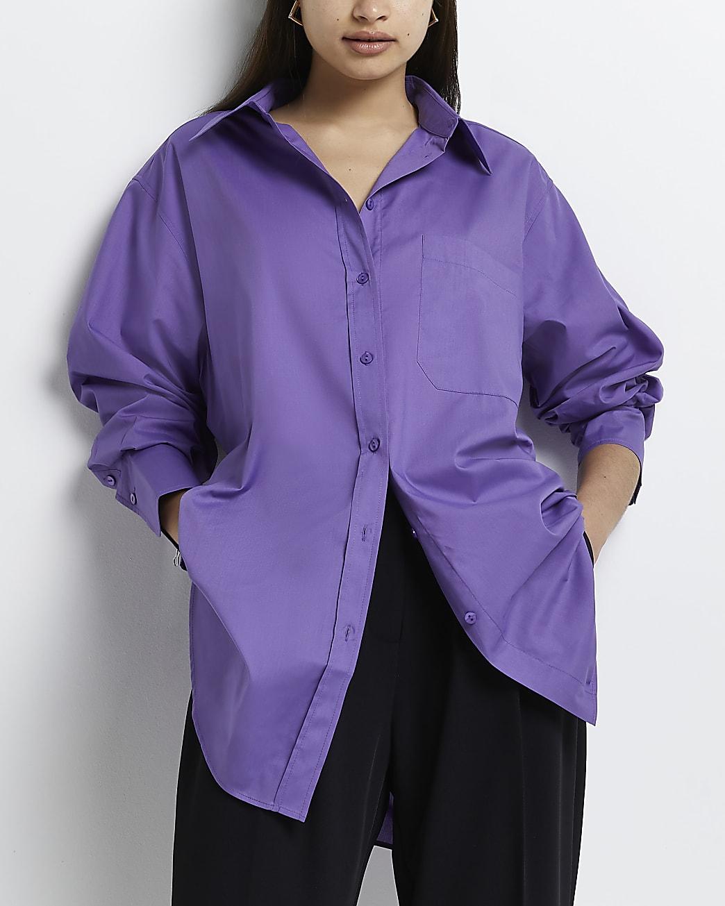 Purple long sleeve oversized shirt