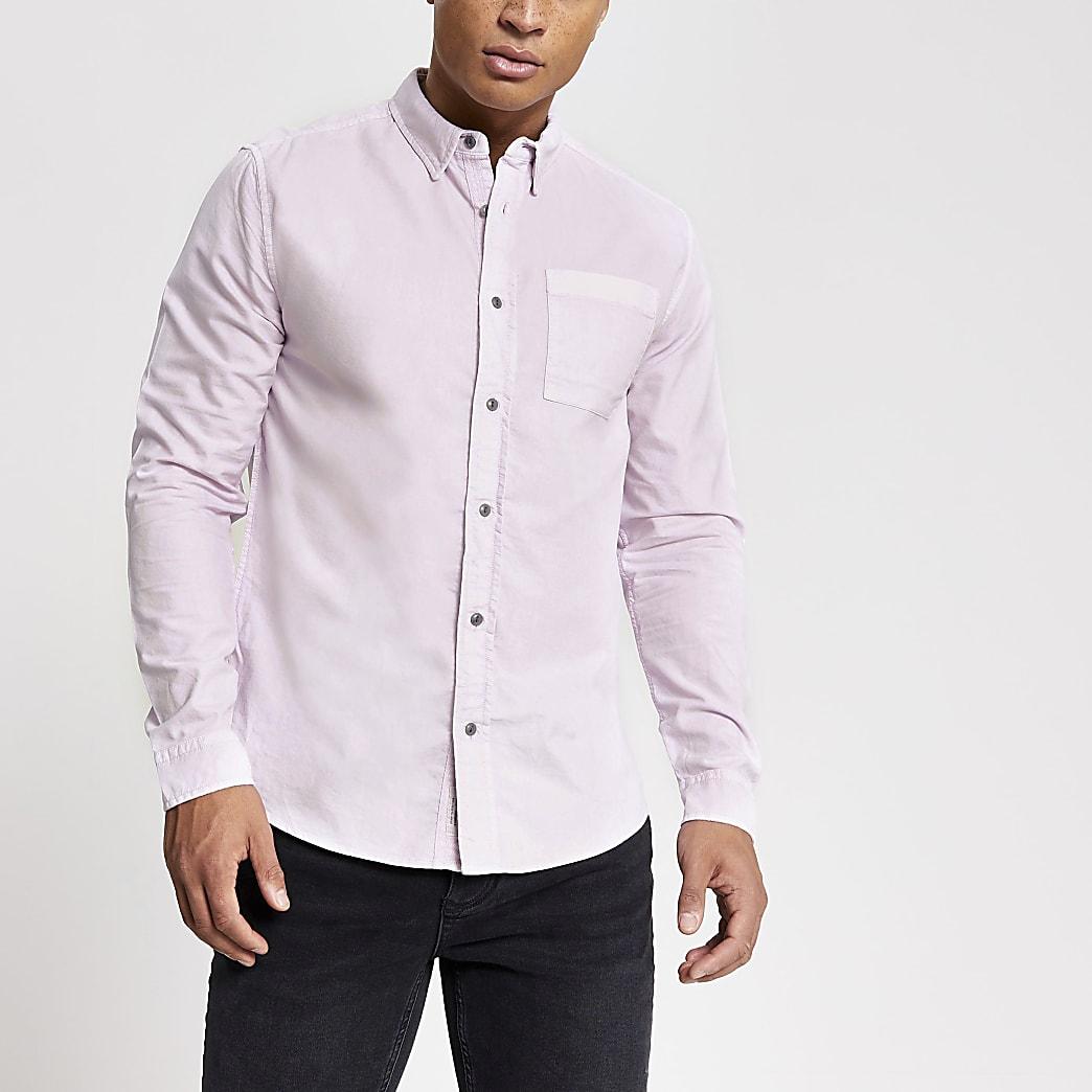 Paars regular-fit overhemd met lange mouwen