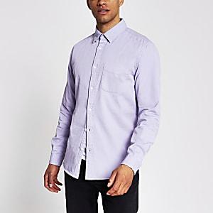 Purple long sleeve regular fit twill shirt
