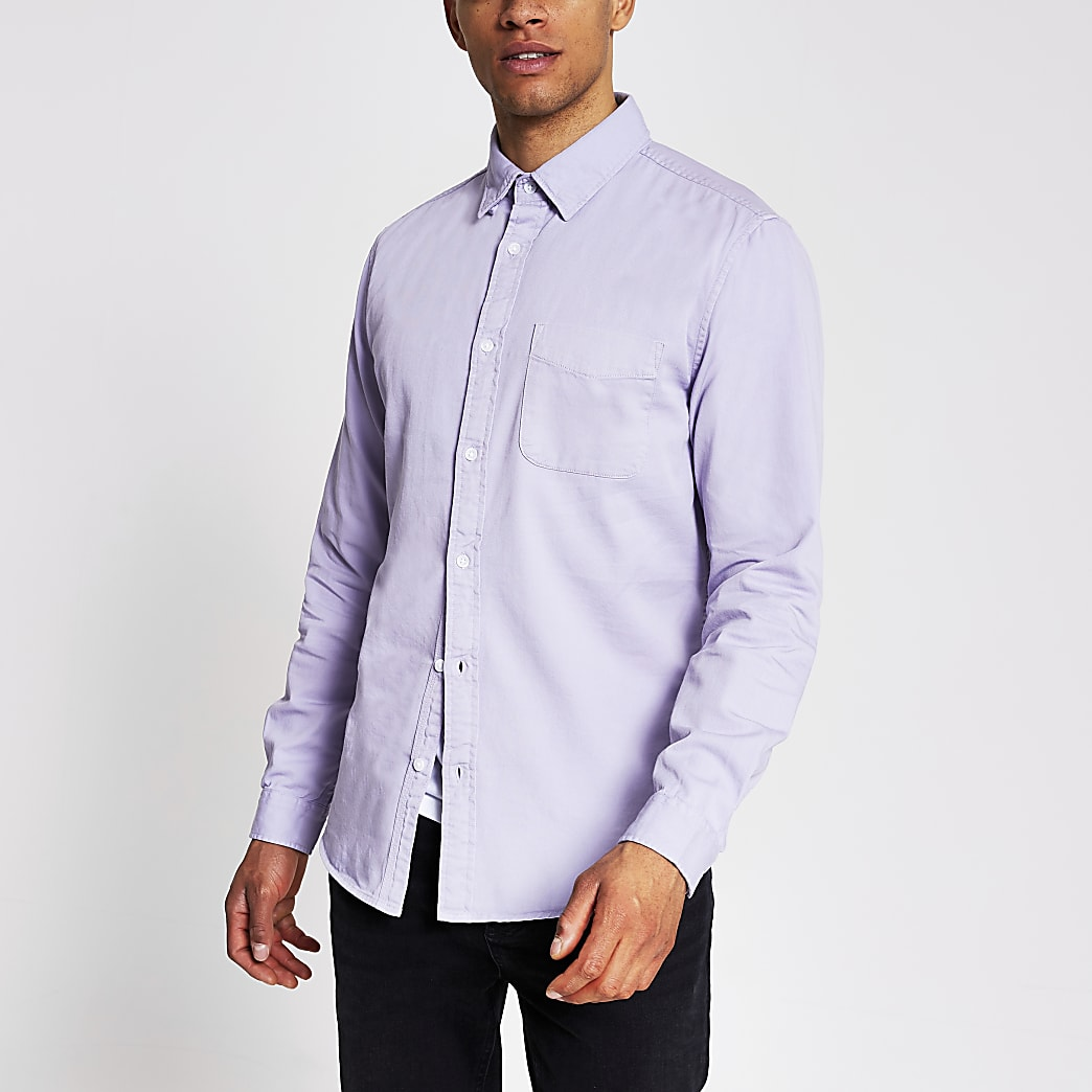 Purple long sleeve regular fit twill shirt
