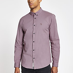 Purple long sleeve slim fit Oxford shirt