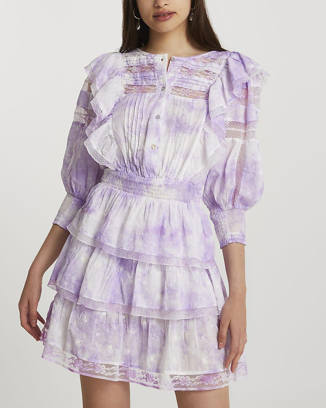 Purple long sleeve tie dye dress