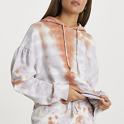 Purple long sleeve tie dye hoody