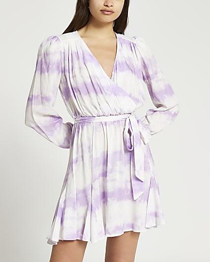 Purple long sleeve tie dye wrap mini dress