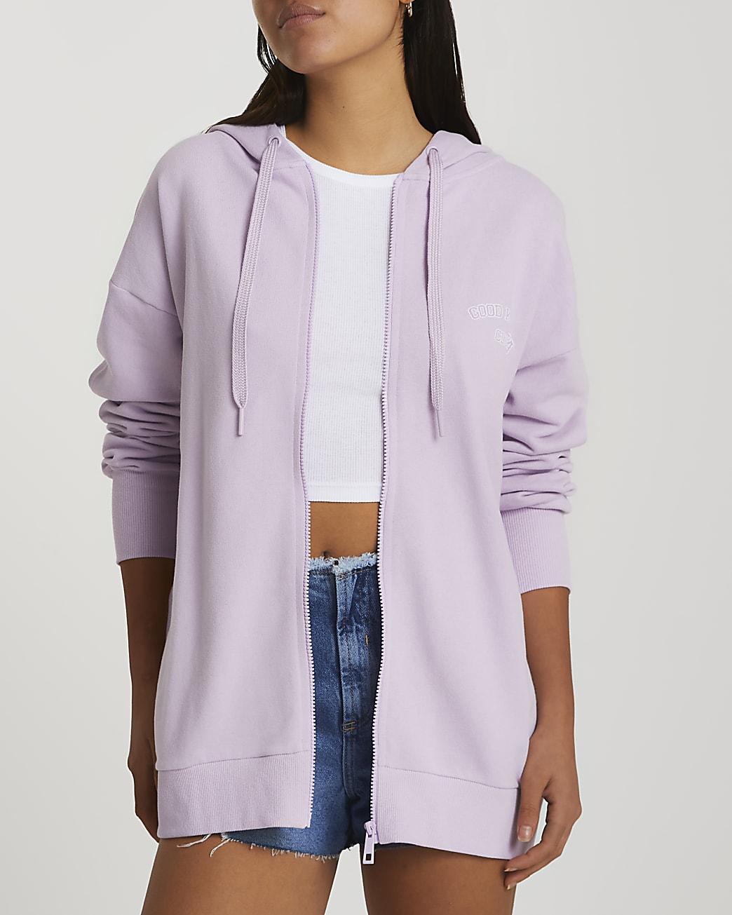 Purple long sleeve zip through hoodie