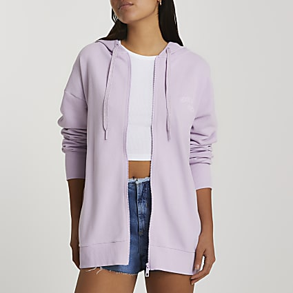 Purple long sleeve zip through hoodie