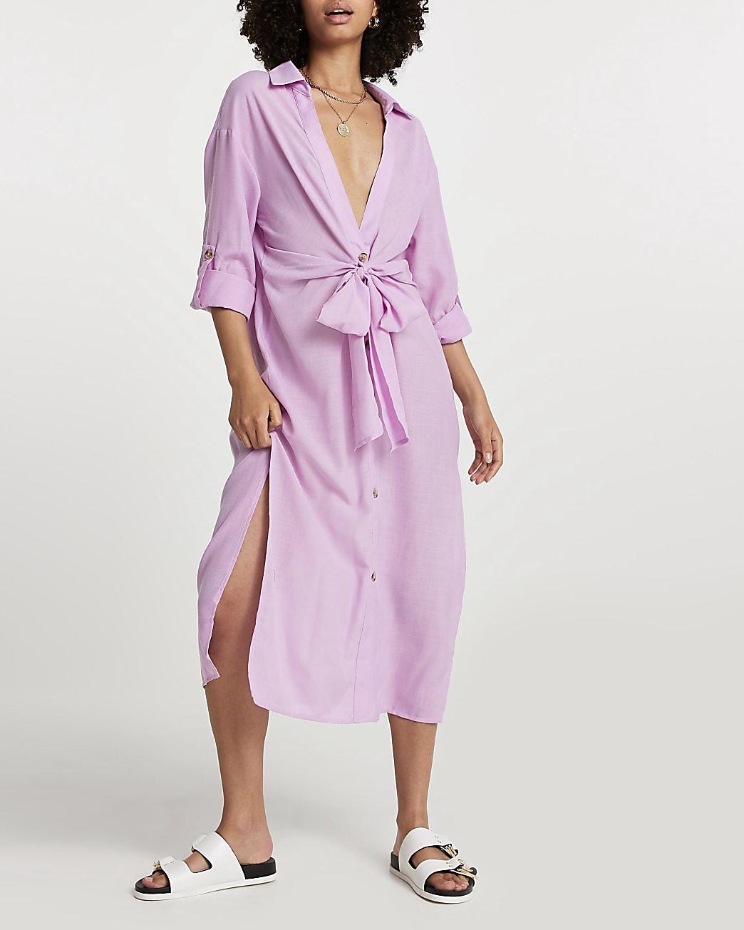 Purple longline tie shirt dress