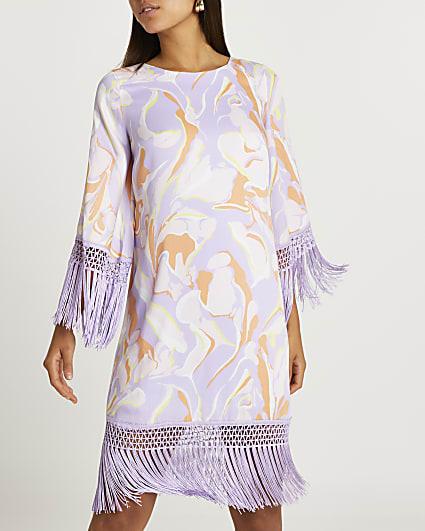 Purple marble print fringe detail mini dress