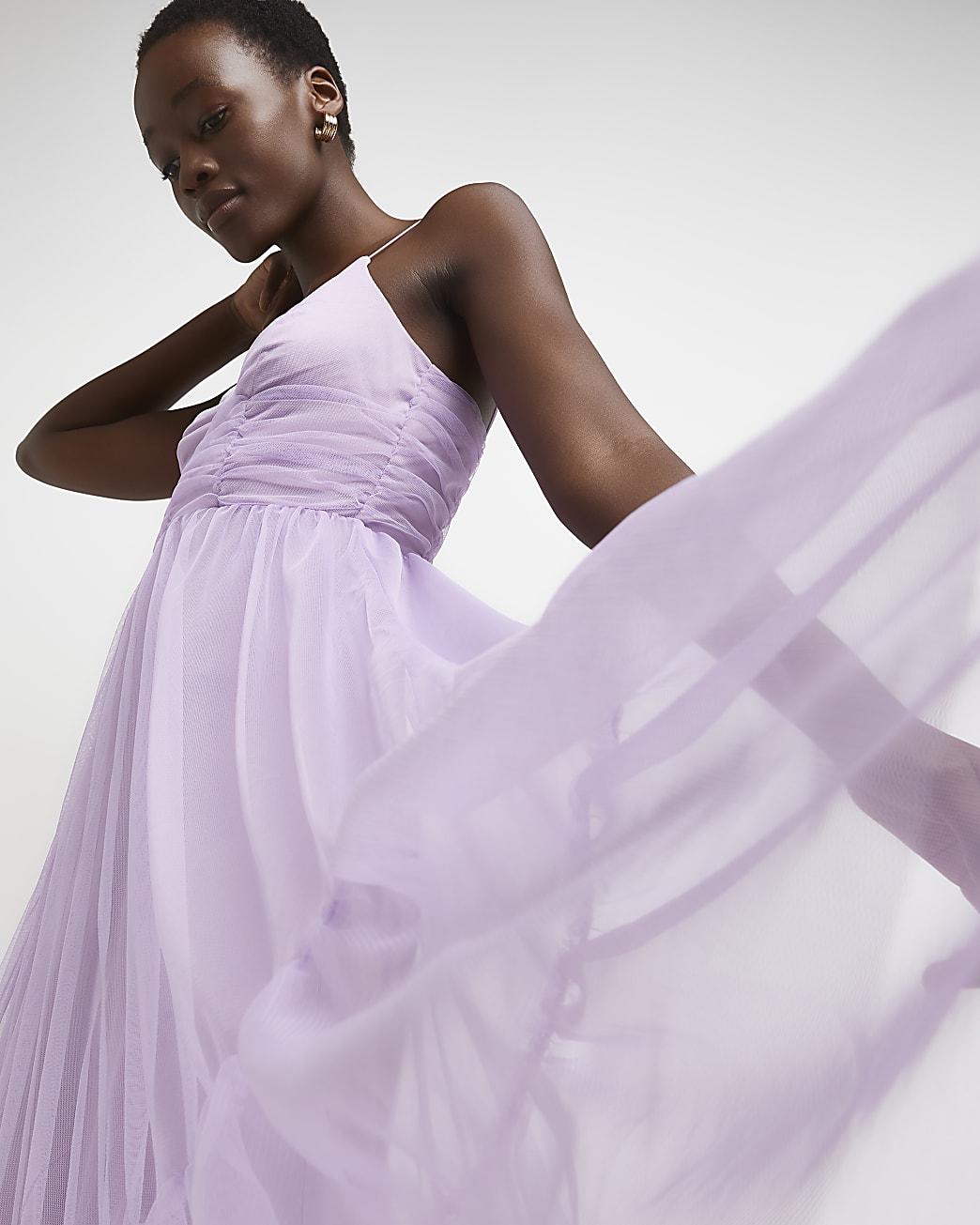 Purple mesh midi dress